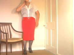 Dee In vidz White Blouse  super and Red Skirt