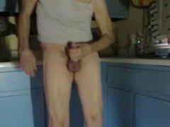 Panty boy vidz masturbates in  super the kitchen.
