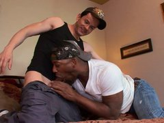 Slender white vidz dude is  super pounding black hunk's ass in bed