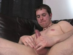 Shorthaired guy's vidz legs are  super spread open and his cock is stiff as a rock