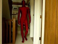 Red lycra vidz spandex morphsuit