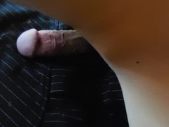 Humping black vidz pinstripe mini  super skirt to a mega cumshot climax