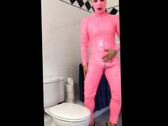 pvcsissy fucks vidz in pink  super pvc catsuit