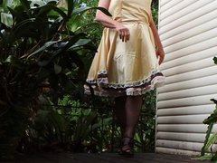 Sissy Ray vidz in Gold  super Sissy Dress on Windy Day 2
