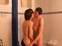 Twinks shave vidz and fuck  super in the bathroom