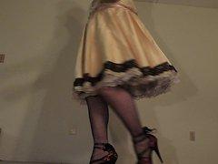 Sissy Ray vidz in Gold  super Satin Sissy Dress Upskirt