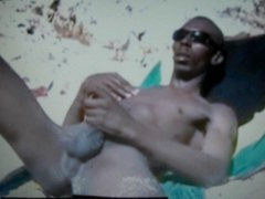 cock jamaican vidz on the  super beach showing his huge cock