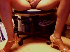Glamorous Golden vidz Strappy Opentoe  super heels and upskirt