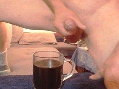Shoot a vidz big load  super in a glass Coffee - Cum