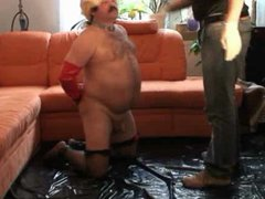 Chubby daddy vidz humiliated and  super slapped