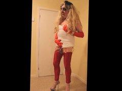 Tranny slut vidz in red  super leggings