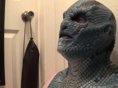 latex lizard vidz mask sucking  super dildo