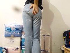 crossdresser in vidz diaper under  super tight levis jeans - abdl