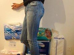 crossdresser in vidz tight jeans  super with diaper under