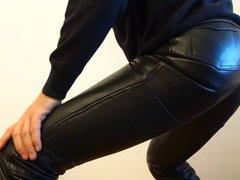 crossdresser in vidz tight shiny  super leather jeans ass