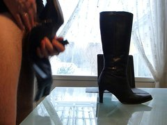 Cum in vidz wifes high  super heeled leather boots
