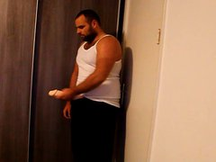 J-Art male vidz solo with  super 12 inch cock dildo and sleeveless shirt
