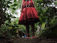 Sissy Ray vidz in Red  super Sissy Dress outdoors 3a