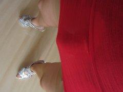 sexy secretary vidz walk with  super silver heels and nylons