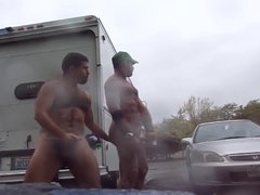 Guys Very vidz Public Rainy  super Stroking in parking lot