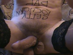 Slave. Anal vidz play and  super cum on stockings.