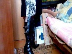 Alla in vidz boots with  super high heels!