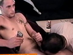 Tattooed straight vidz jock cums  super in gay pals mouth