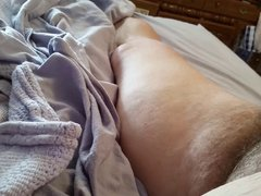 rubbing her vidz see through  super pantys on my cock, hairy pussy