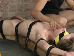 Sweet young vidz Zac is  super blindfolded and tied