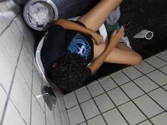 Surprise, masturbating vidz in the  super bathroom