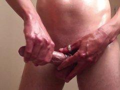 HD Babyoil vidz wank soft  super to hard with rings and handsfree cum