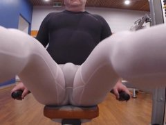 Showing off vidz at the  super gym in sweaty spandex