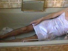 white satin vidz slip shower  super (laying down )