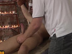 Master pouring vidz candle wax  super on his bound sexy twink Izan Loren