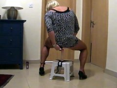 Tranny Sheer vidz riding the  super fuck stool