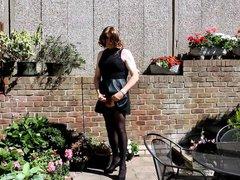 Alison's wanking vidz in the  super garden again - Sexy Crossdresser