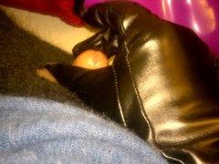 Cumming on vidz leather glove