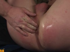 Sebastian uses vidz hard sex  super toys on slave while chained and tied