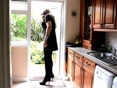 Sexy Crossdresser vidz Alison -  super Butt plug and cum in the kitchen