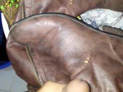 cum on vidz Aruna girlfriend's  super leather brown boot.