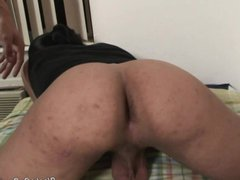 Long haired vidz latino dude  super takes a black cock up his ass