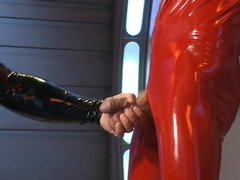 BDSM poor vidz twink in  super shiny catsuit tied and fucked
