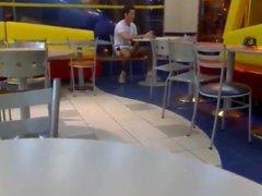 Guy jerking vidz off in  super public (mc donalds)