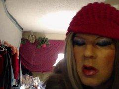 smoking tgirl vidz pink hat  super lipstick stains
