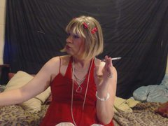 slutty sissy vidz smoking in  super red lingerie