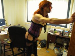 Wearing a vidz sexy corset  super stockings & thigh boots