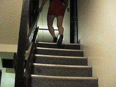 upskirt cd vidz on stairs