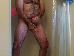 Jerking off vidz in the  super shower. Cum shot. Hairy