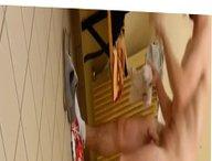 Spy cam vidz in the  super locker room - Big dick guy