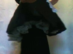 Tranny French vidz Maid in  super black opaque tights pantyhose